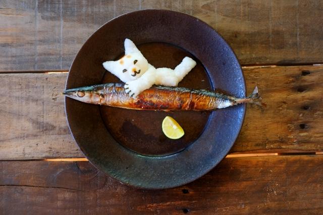 焼かれた秋刀魚に猫型にデコレーションされた大根おろしが添えられた画像