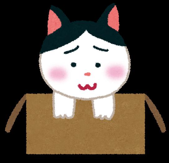 段ボール箱に入れられて捨てられた子猫のイラスト